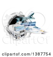 Clipart Of 3d Cargo Logistics Modes Trains Planes Big Rig Trucks And Ships Breaking Through A Wall Royalty Free Vector Illustration