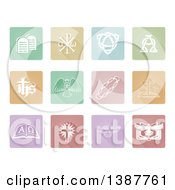 White Christian Icons On Pastel Tiles