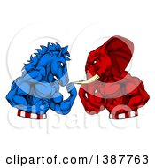 Clipart Of A Political Aggressive Democratic Donkey Or Horse And Republican Elephant Fighting Fists Balled Royalty Free Vector Illustration by AtStockIllustration