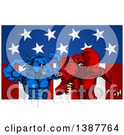 Political Aggressive Democratic Donkey Or Horse And Republican Elephant Fighting Over Stars And Stripes
