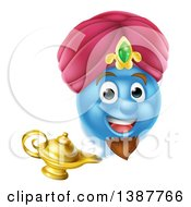 Clipart Of A Blue Smiley Emoji Emoticon Genie Emerging From A Lamp Royalty Free Vector Illustration by AtStockIllustration