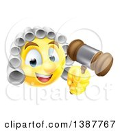 Clipart Of A Yellow Smiley Emoji Emoticon Judge Wearing A Wig And Holding A Gavel Royalty Free Vector Illustration by AtStockIllustration