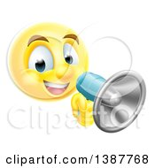 Clipart Of A Yellow Smiley Emoji Emoticon Using A Megaphone Royalty Free Vector Illustration by AtStockIllustration