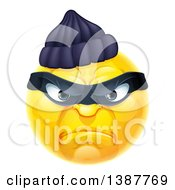Clipart Of A Yellow Smiley Emoji Emoticon Robber Royalty Free Vector Illustration by AtStockIllustration