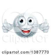 Clipart Of A Cartoon Happy Golf Ball Character Giving Two Thumbs Up Royalty Free Vector Illustration by AtStockIllustration