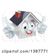 Cartoon Happy White Home Mascot Giving Two Thumbs Up