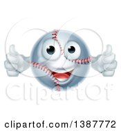 Clipart Of A Cartoon Happy Baseball Character Giving Two Thumbs Up Royalty Free Vector Illustration by AtStockIllustration