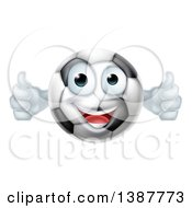 Clipart Of A Cartoon Happy Soccer Ball Character Giving Two Thumbs Up Royalty Free Vector Illustration by AtStockIllustration