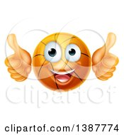 Clipart Of A Cartoon Happy Basketball Character Giving Two Thumbs Up Royalty Free Vector Illustration