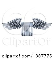 Clipart Of A 3d Steel Metal Heraldic Winged Shield Royalty Free Vector Illustration
