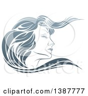Clipart Of A Gradient Beatiful Womans Face In Profile With Long Hair Waving Royalty Free Vector Illustration