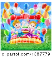 Cartoon Happy White Boy And Girl Jumping On A Bouncy House Castle In A Park With Party Balloons