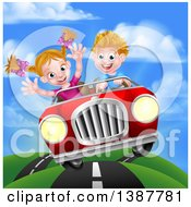Clipart Of A Blond White Boy Driving A Girl In A Red Convertible Car Catching Air On A Rural Road Royalty Free Vector Illustration