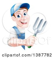 Clipart Of A Happy Middle Aged Brunette White Male Gardener In Blue Holding A Garden Fork Around A Sign Royalty Free Vector Illustration