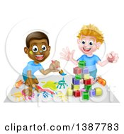 Poster, Art Print Of Cartoon Happy White And Black Boys Painting And Playing With Blocks