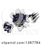 Clipart Of A Vicious Black Panther Shredding Through A Wall Royalty Free Vector Illustration by AtStockIllustration