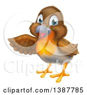 Clipart Of A Happy Robin Bird Presenting To The Left Royalty Free Vector Illustration by AtStockIllustration