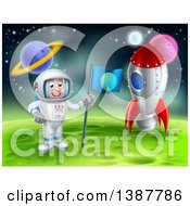 Clipart Of A Happy Caucasian Male Astronaut Standing By A Rocket And Planting An Earth Flag On A Foreign Planet Royalty Free Vector Illustration by AtStockIllustration