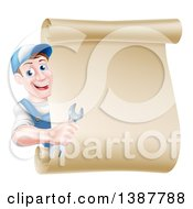 Clipart Of A Happy Middle Aged Brunette Caucasian Mechanic Man In Blue Holding A Wrench And Looking Around A Blank Scroll Sign Royalty Free Vector Illustration
