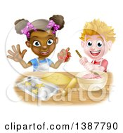 Clipart Of A Happy White Boy Making Frosting And Black Girl Making Star Cookies Royalty Free Vector Illustration