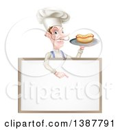 Clipart Of A White Male Chef With A Curling Mustache Holding A Hot Dog On A Platter And Pointing Down Over A White Menu Board Sign Royalty Free Vector Illustration