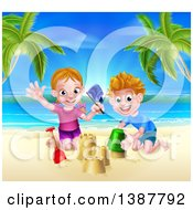 Clipart Of A Happy White Girl And Boy Playing And Making Sand Castles On A Tropical Beach Royalty Free Vector Illustration by AtStockIllustration