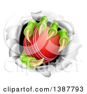 Clipart Of Monster Claws Holding A Cricket Ball And Ripping Through A Wall Royalty Free Vector Illustration by AtStockIllustration