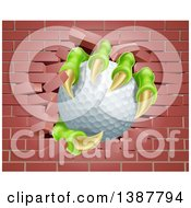 Clipart Of Monster Claws Holding A Golf Ball And Breaking Through A Brick Wall Royalty Free Vector Illustration