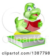 Clipart Of A Happy Green Earthworm Reading A Book On A Stack Royalty Free Vector Illustration