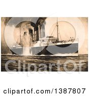 Poster, Art Print Of The Rms Lusitania Bursting Into Flames Kinsale Head Ireland May 7th 1915