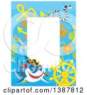 Clipart Of A Vertical Background Border Frame Of A Pirate Shark With A Sunken Ship Helm And Text Space Royalty Free Vector Illustration by Alex Bannykh