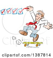 Clipart Of A Happy White Business Man On A Roll Getting It Done And Checking Off His To Do List Royalty Free Vector Illustration by Johnny Sajem