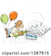 Poster, Art Print Of Cartoon Bald Senior Black Man Blowing Out His Birthday Cake Candles Where Theres A Will Theres A Way