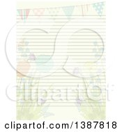 Sheet Of Ruled Paper With Faded Spring Flowers And A Bunting Banner