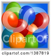 3d Colorful Party Balloons Over Blue Emerging From A Frame