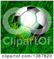 Clipart Of A 3d Soccer Ball In Grass Royalty Free Vector Illustration