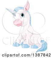 Clipart Of A Cute White Baby Unicorn With Blue Hair Sitting Royalty Free Vector Illustration