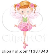 Clipart Of A Blue Eyed Dirty Blond Caucasian Fairy Girl With A Flower Skirt And Leaf Top Royalty Free Vector Illustration