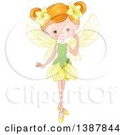 Green Eyed Strawberry Blond White Fairy Girl In A Flower Dress