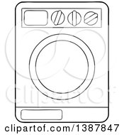 Clipart Of A Cartoon Black And White Lineart Laundry Washing Machine Royalty Free Vector Illustration by visekart
