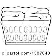Clipart Of A Cartoon Black And White Lineart Laundry Basket With Folded Items Royalty Free Vector Illustration by visekart