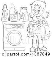 Clipart Of A Black And White Lineart Happy Woman Doing Laundry Royalty Free Vector Illustration