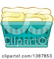 Clipart Of A Cartoon Laundry Basket With Folded Items Royalty Free Vector Illustration by visekart
