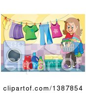 Clipart Of A Happy Brunette White Woman By A Clothes Line With Laundry Air Drying Royalty Free Vector Illustration by visekart