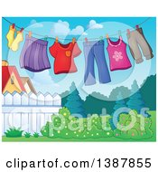 Clipart Of A Clothes Line With Laundry Air Drying In A Yard Royalty Free Vector Illustration
