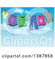 Clipart Of A Clothes Line With Laundry Air Drying Against A Blue Sky Royalty Free Vector Illustration