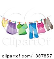 Clipart Of A Clothes Line With Laundry Air Drying Royalty Free Vector Illustration by visekart