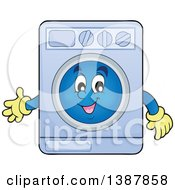 Clipart Of A Cartoon Happy Laundry Washing Machine Character Royalty Free Vector Illustration by visekart