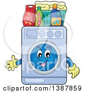 Clipart Of A Cartoon Happy Laundry Washing Machine Character With A Basket And Detergent Royalty Free Vector Illustration by visekart