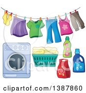 Clipart Of A Clothes Line With Laundry Air Drying Washing Machine Basket And Detergent Royalty Free Vector Illustration